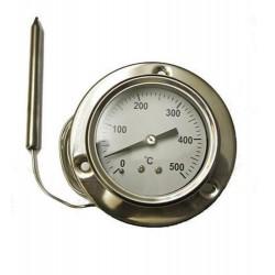 Termómetro inoxidable redondo con bulbo y capilar de 1,60 metros desde 0ºC a 500ºC